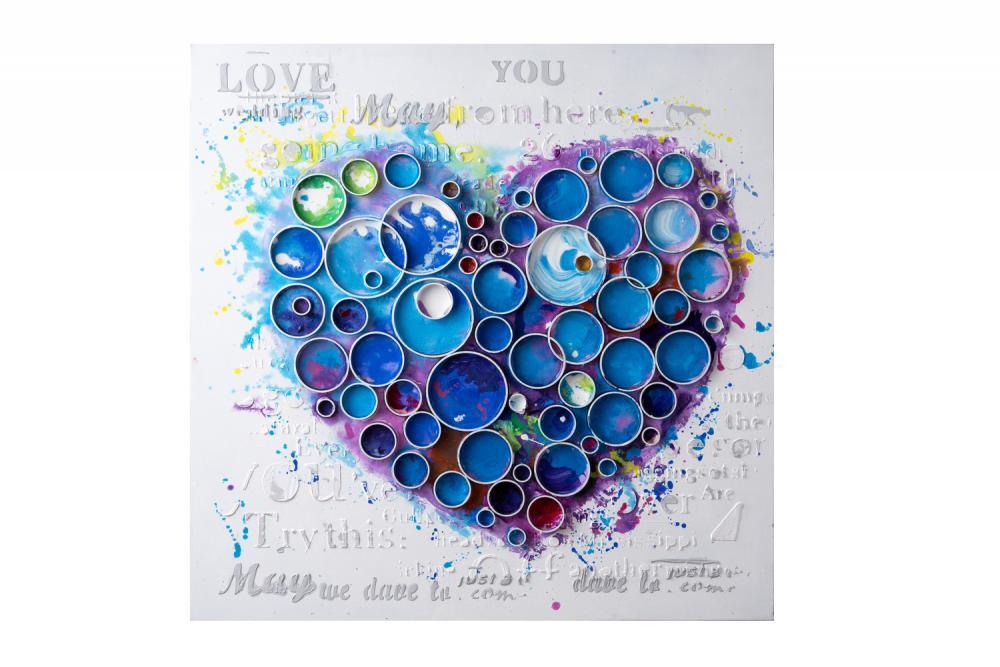 Work Of Heart Blue Mixed Media Wall Art 1dknk Beautiful Lights