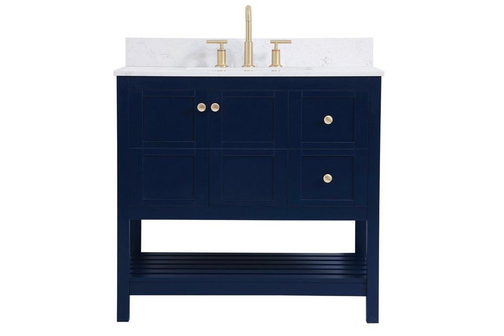 36 Inch Single Bathroom Vanity In Blue With Backsplash Twzan Beautiful Lights